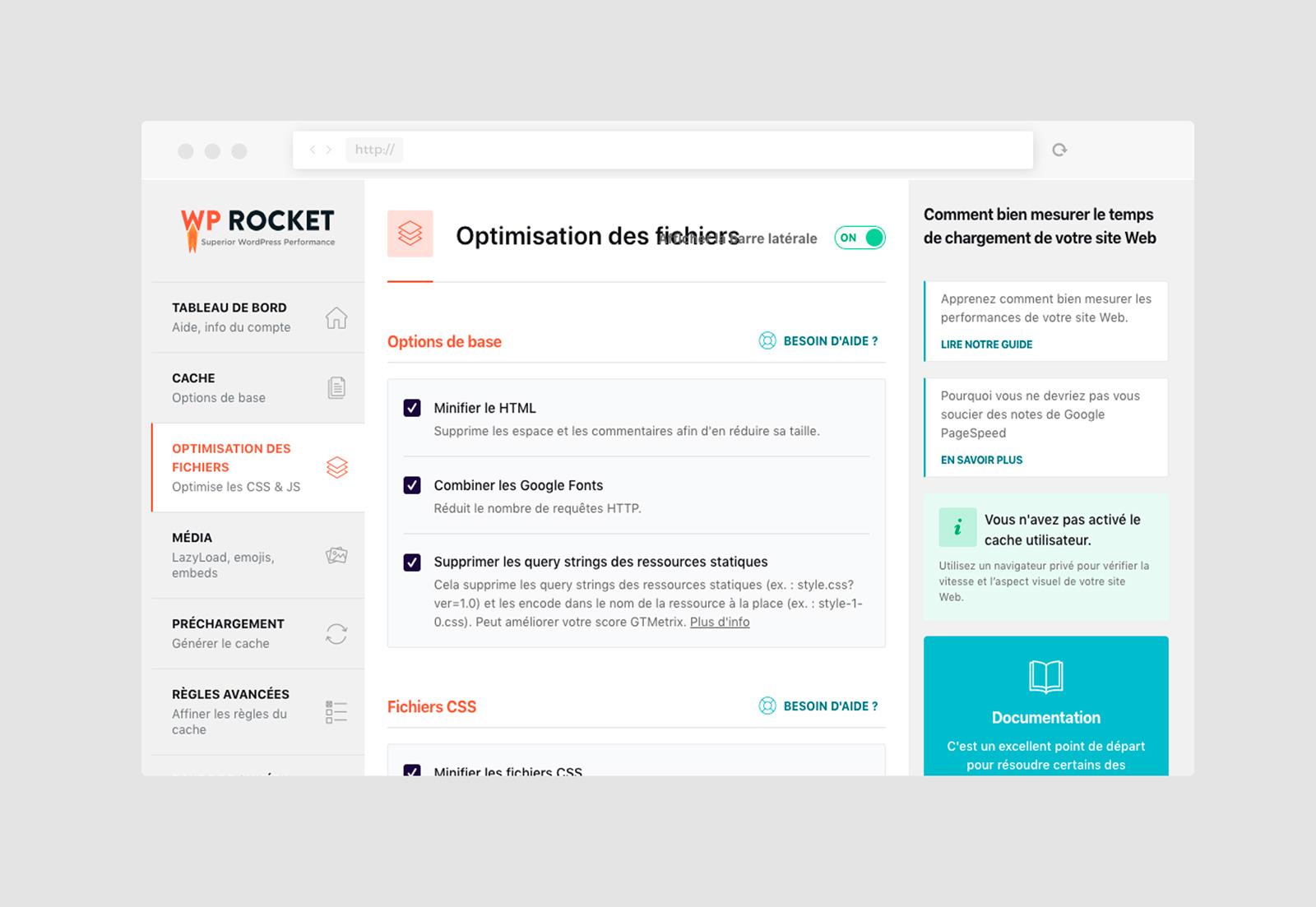 interface d'administration du plugin de gestion de cache WP Rocket
